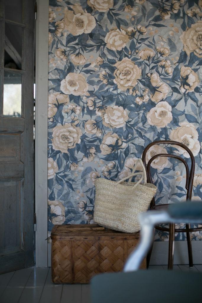 Tapet_blå_vita_blommor_romantisk_Mrs_Mighetto