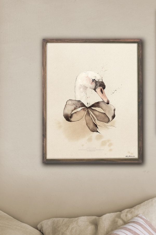 Artwork_poster_print_swan_watercolor_Mrs_Mighetto